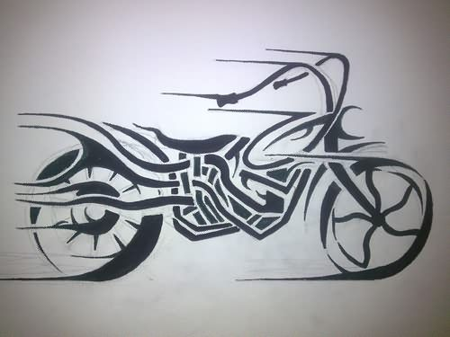 Tribal Motorcycle Tattoo Design Biker Tattoos Tattoo Designs Bike Tattoos