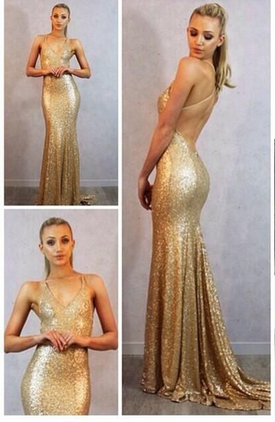 Sparkling Gold Sequin Mermaid Prom Dresses Sexy V-Neck Sleeveless ...