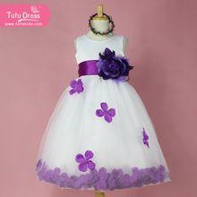 2f967131d Niña de las flores vestidos de blanco con pétalos de rosa vestido de novia  dama de honor de Pascua para el bebé niños niño niñas adolescentes (China  ...