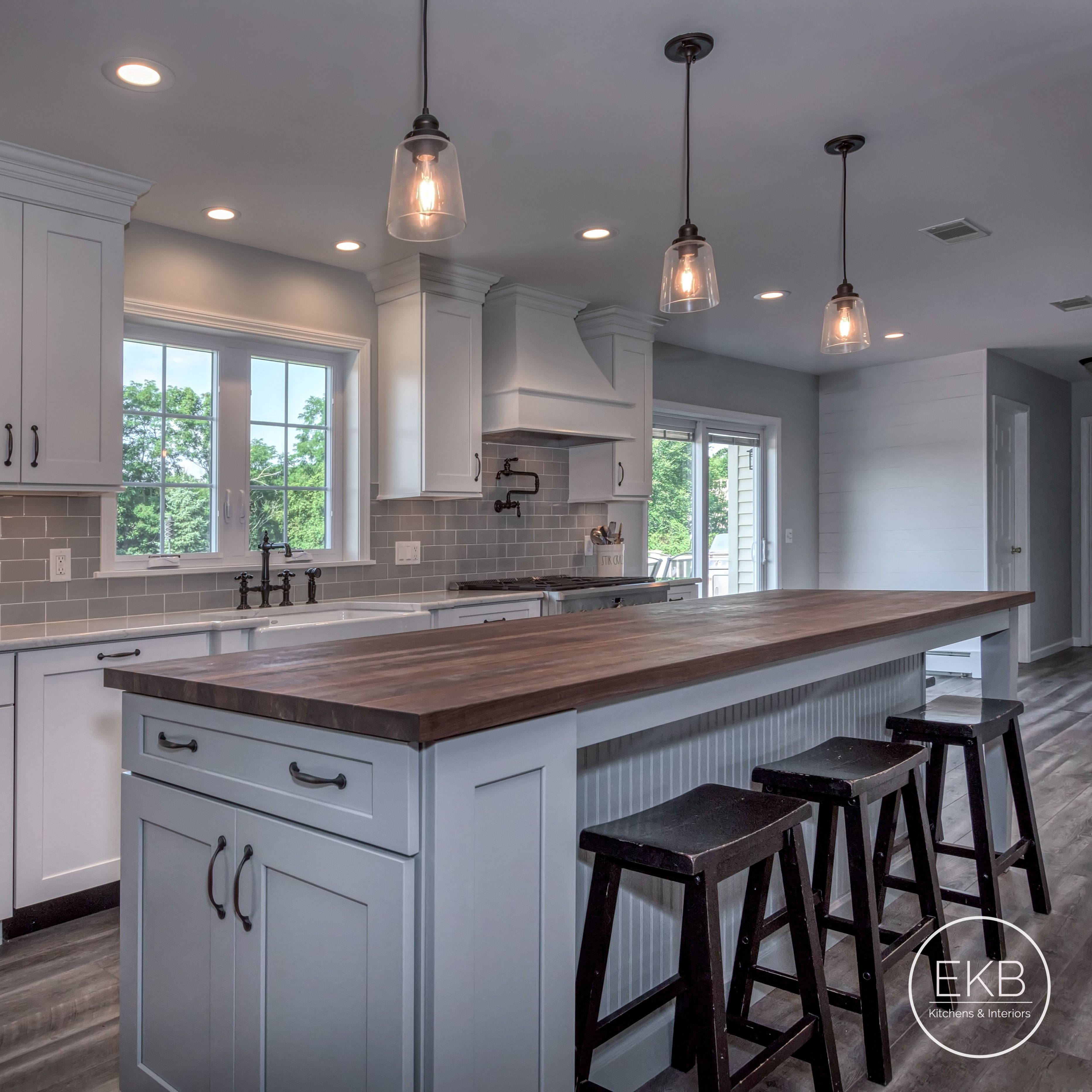 Walnut Butcher Block With White Cabinets Kitchen Countertops Kitchen Remodel Countertops