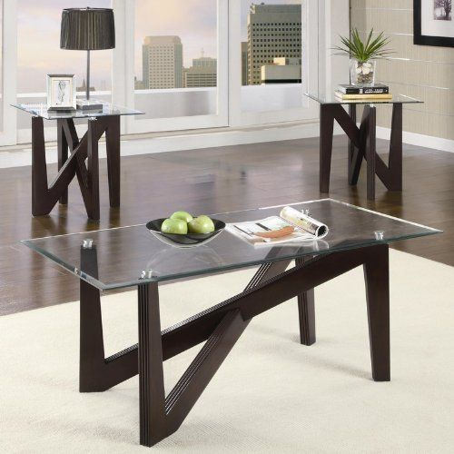 Cappuccino Coffee Table Set.3pc Coffee Table And End Tables Set With Glass Top In Cappuccino