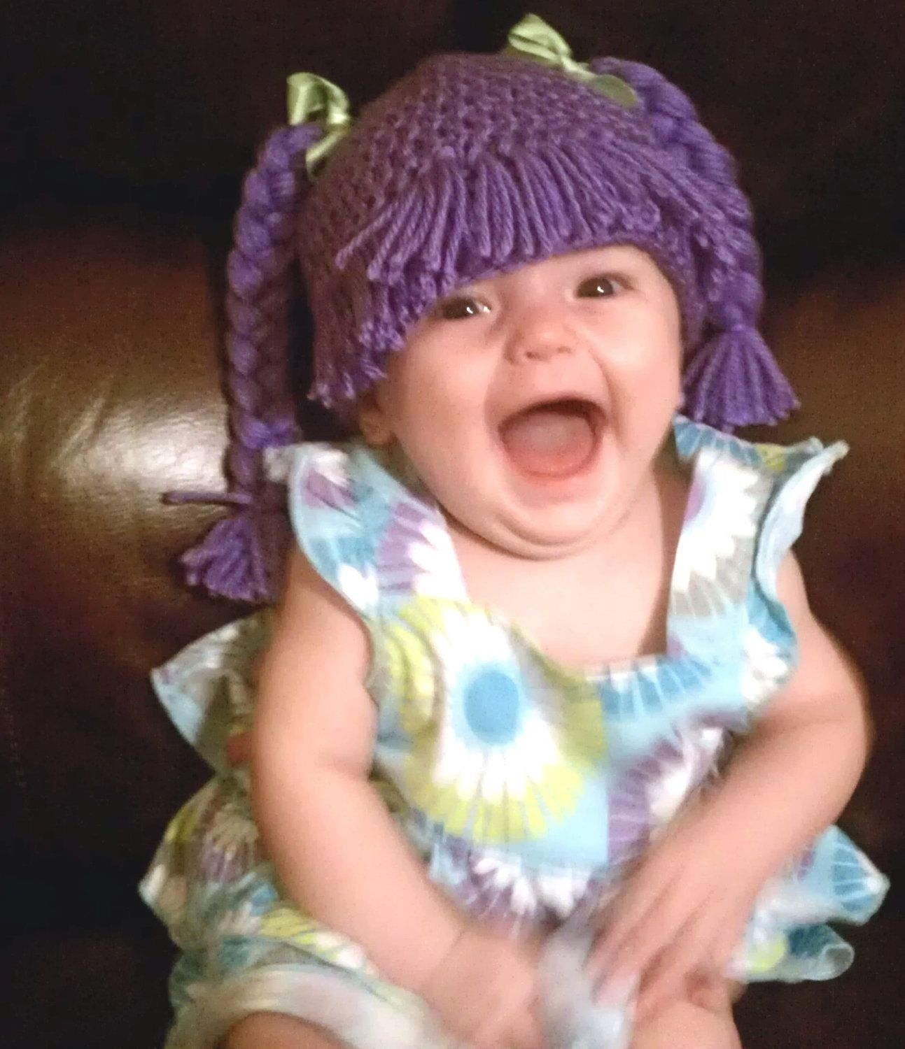 Baby girl adorable Cabbage Patch crocheted hat complete with hair ...