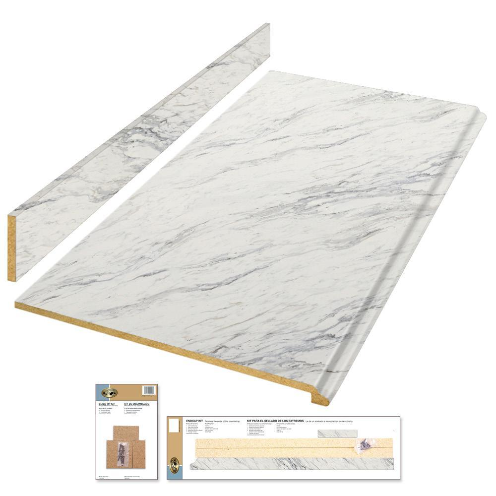 Hampton Bay 6 Ft Laminate Countertop Kit In Calcutta Marble With Valencia Edge 12337kt06n4925 The Home D In 2020 Laminate Countertops Countertop Kit Calcutta Marble
