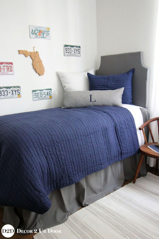 Navy Grey Guys Dorm Bedding Set Dorm Bedding Dorm Bedding Sets Dorm Room Bedding Sets