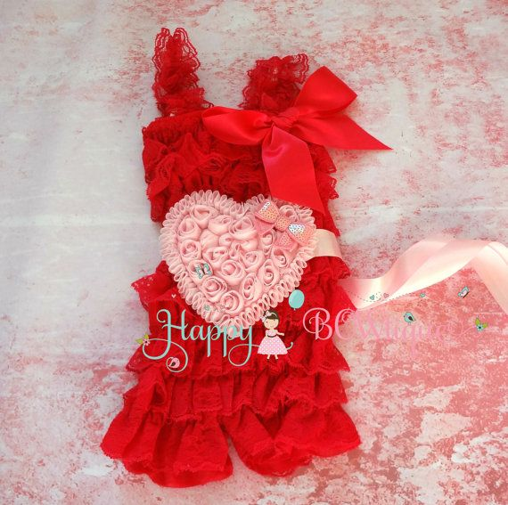 Valentine romper Red hearts romper set Red romper by HappyBOWtique