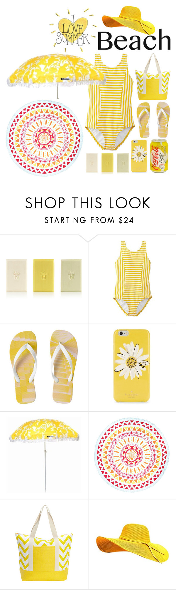 """Suns Out:  Beach Day"" by emcf3548 ❤ liked on Polyvore featuring Marianella, Kate Spade, Sunnylife, Beach Lulu, Magid and beachday"