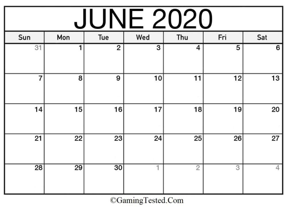 June 2020 Calendar Printable First Month Of Summer Season