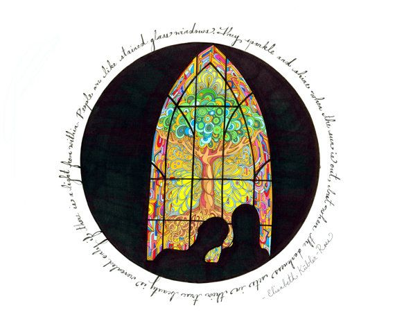 8x10 Stained Glass Print by RebeccaBorrelli on Etsy
