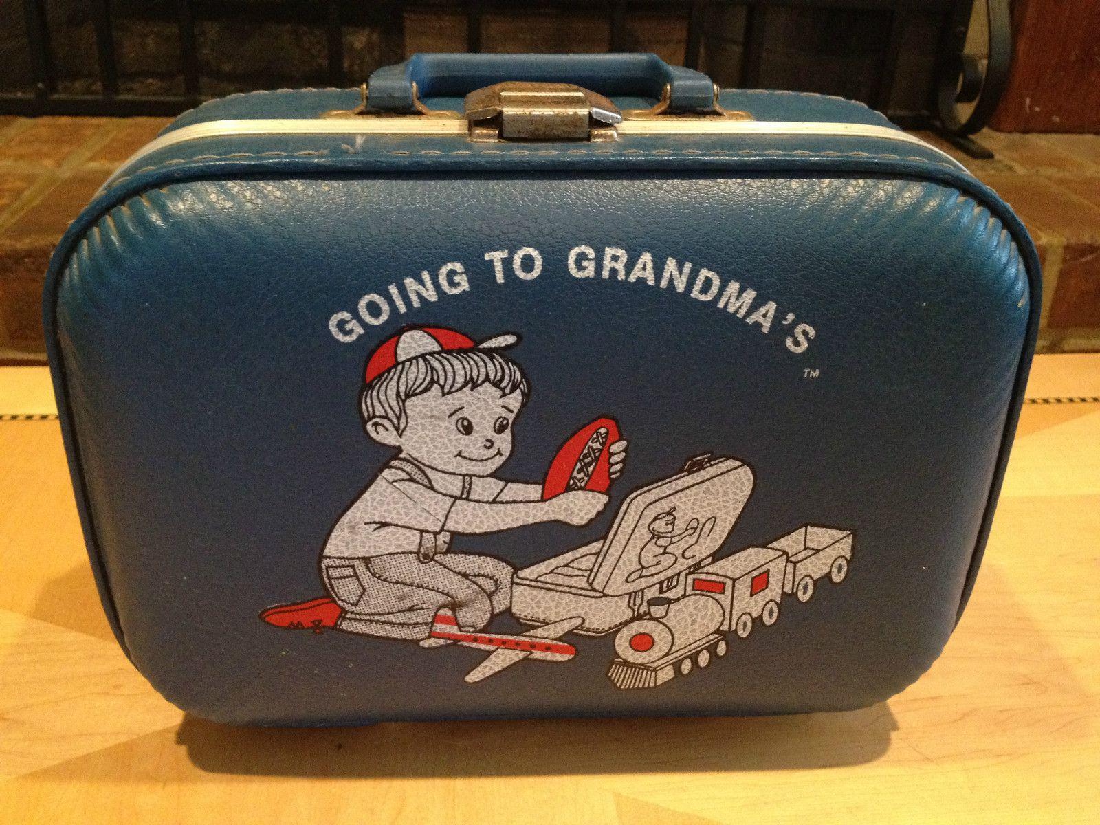 """Going To Grandma's"" Blue Luggage Hard Case Vintage/Antique   eBay"