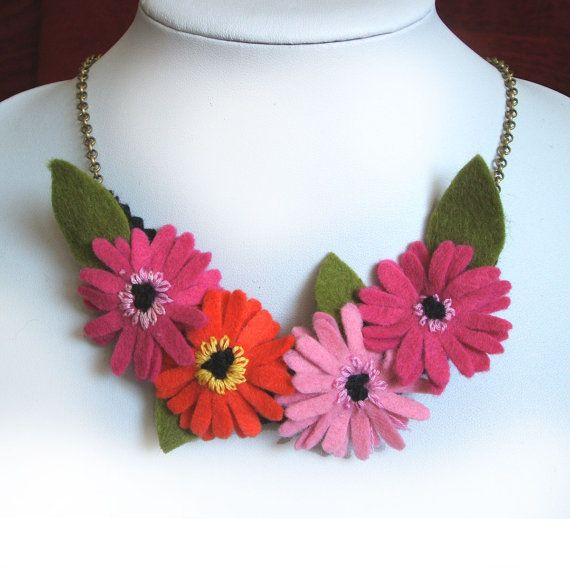 Gerbera Necklace Felt Flower jewelry Statement by CraftyJoDesigns