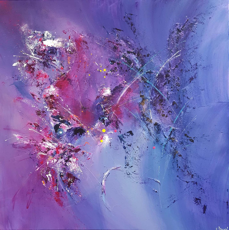 Peinture acrylique et matière Rose Violet Bleu Gris Blanc : Peintures par stephanie-menard ...