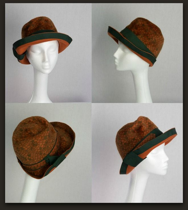 """Fabulous vintage 1960's Oval Room for Ohrbech's Hat. Gorgeous hat for fall! Soft brushed faux fur with an attractive fish scale pattern or snake print in rust orange with olive tone. Olive green grosgrain ribbon band and tie accent that hold the brim up.Outer brim is all trimmed in the wide olive ribbon. Ribbon band inside. Measures approx. 21"""" inside. Designer: Oval Room for Ohrbech's/ Inside reads: Crochet Made in Austria."""