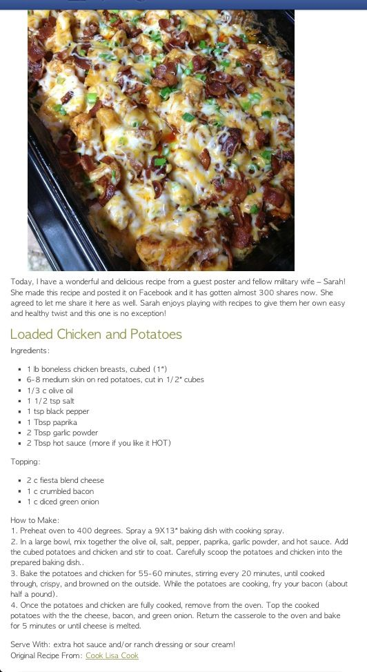 loaded chicken and potatoes i make this without the hot sauce