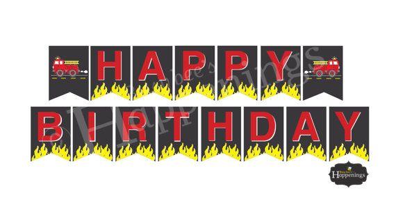Fire Truck Happy Birthday Banner Firetruck By Busybeeshappenings