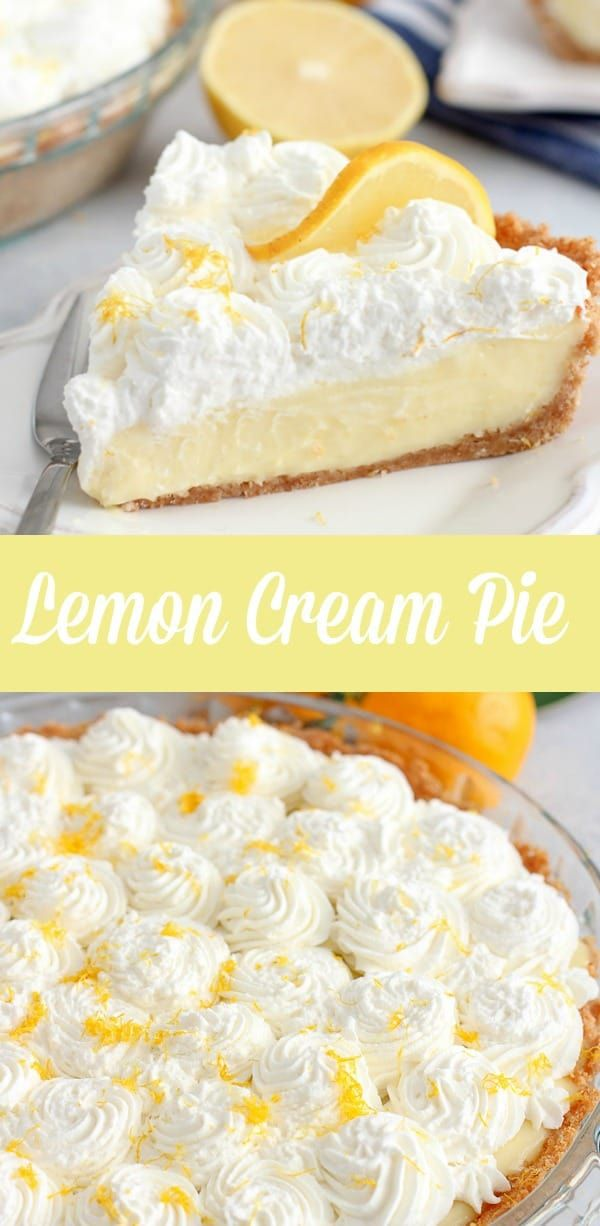 Lemon Cream Pie - A smooth and creamy pie with fresh lemon filling and whipped cream in a buttery g