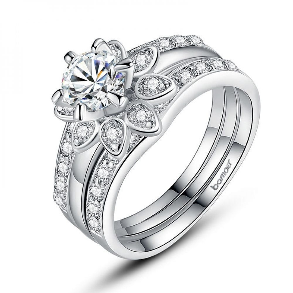 Online shopping for Silver Color Couple Flower Ring Bridal