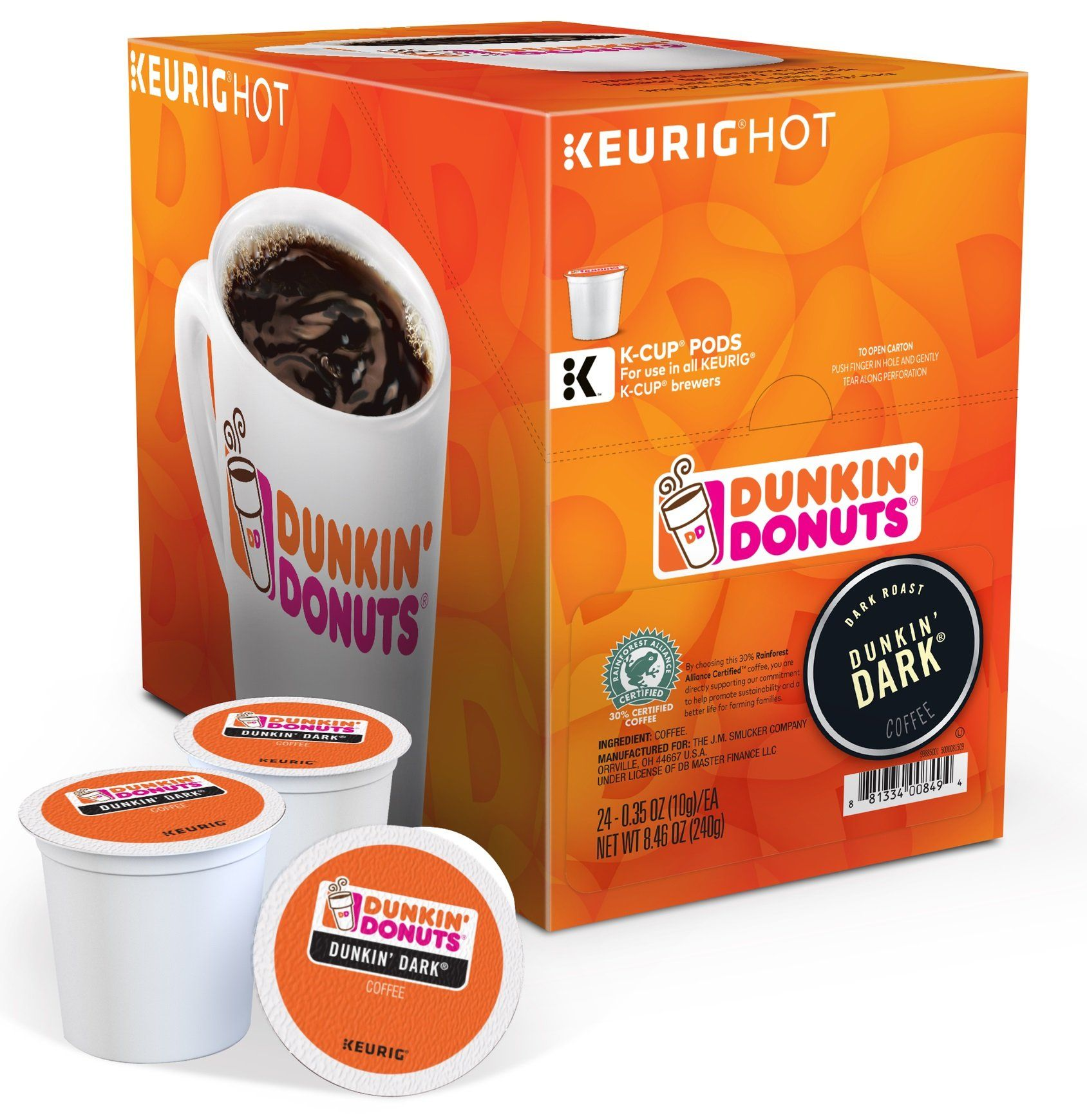 Dunkin Donuts Dunkin Dark KCups 144 Count with Bonus KCups