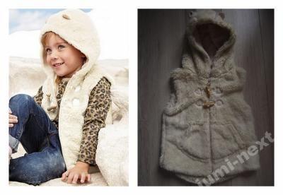 Sliczna Misiowa Kamizelka Uszy Futerko Next12 3971412532 Oficjalne Archiwum Allegro Winter Jackets Fur Coat Coat