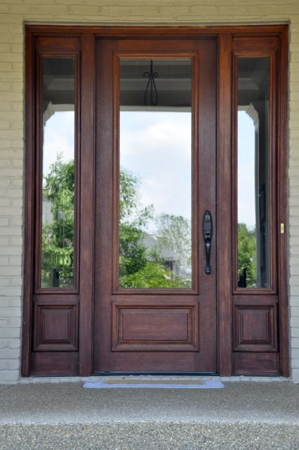 Full glass and wood front door elegant entryways for Front door glass panels