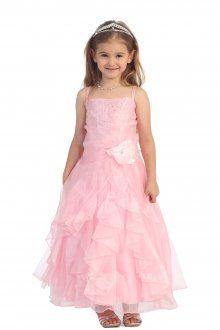 Pink Jeweled Bodice Ruffle Layered Organza Flower Girl Dress