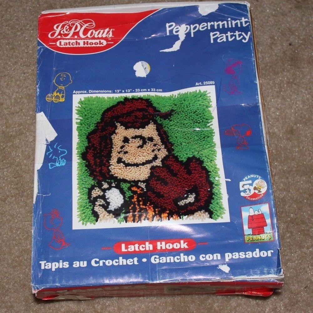 "PEPPERMINT PATTY J & P JP Coats Latch Hook Rug Kit Peanuts Gang 13""x13"" Softball #JPCoats"