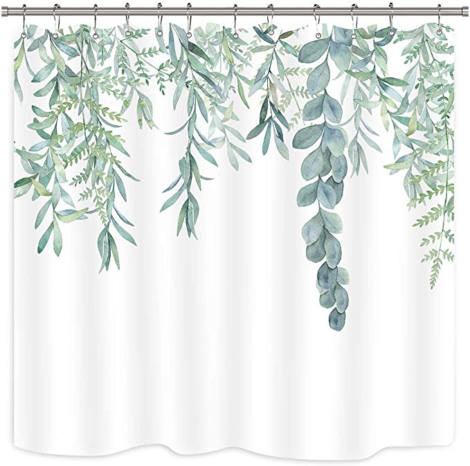 Amazon Com Riyidecor Green Leaves Shower Curtain Watercolor