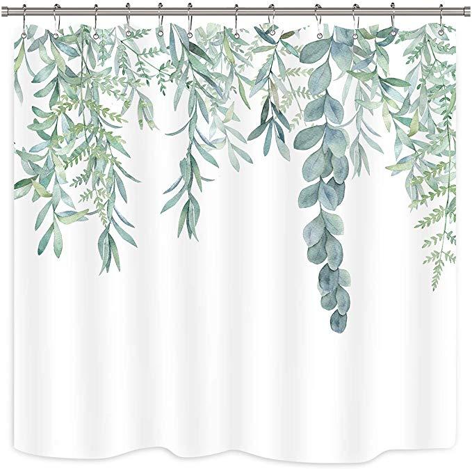 Amazon Com Riyidecor Green Leaves Shower Curtain Watercolor Spring Botanical Plant Branch Bouquet Fabric Waterpro Bathtub Decor Green Shower Curtains Curtains