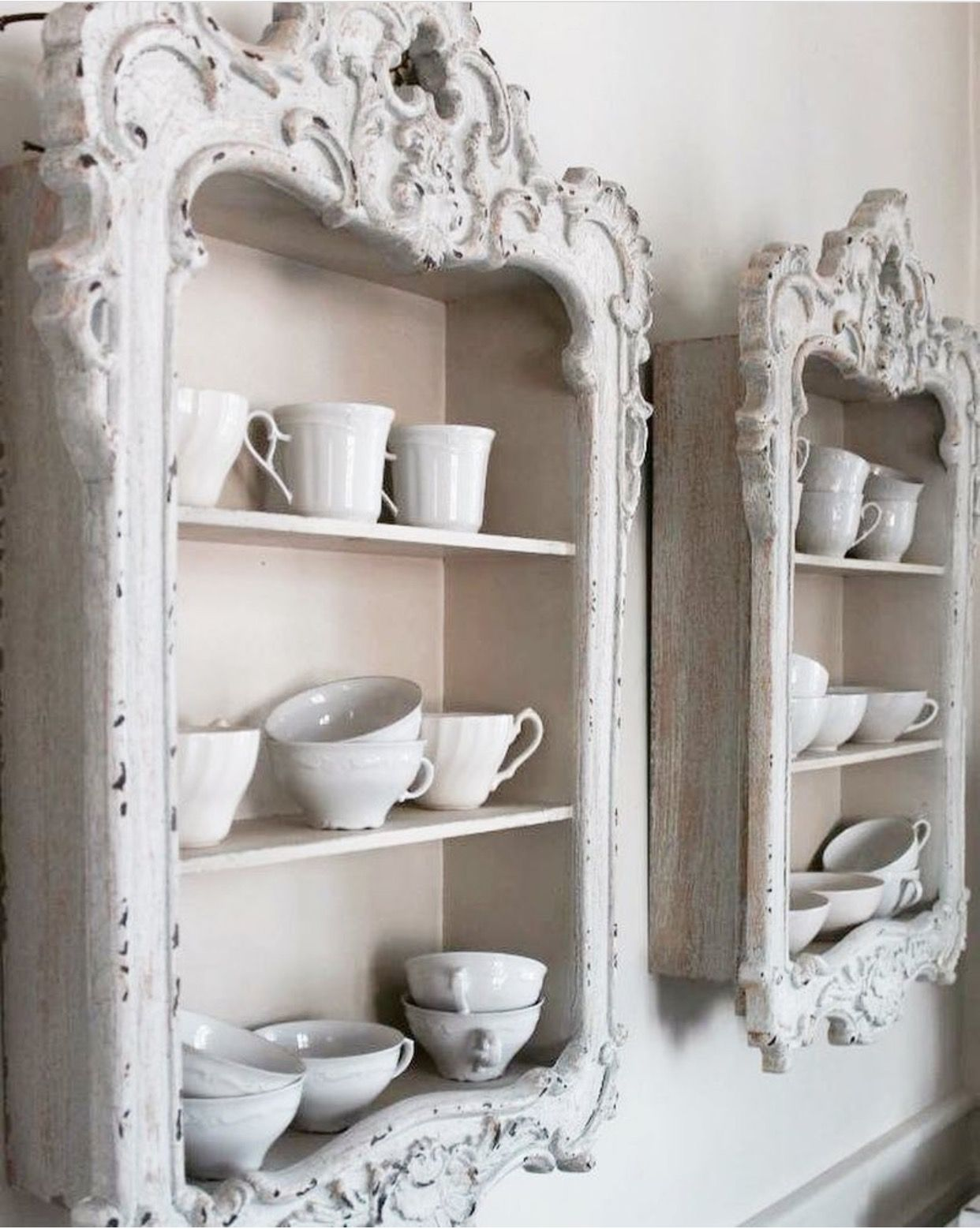 Pin By Marlee Willis On Shabby White Cream Silver And Brocante Decoration Diy Furniture Shabby Chic Furniture Picture Frame Shelves