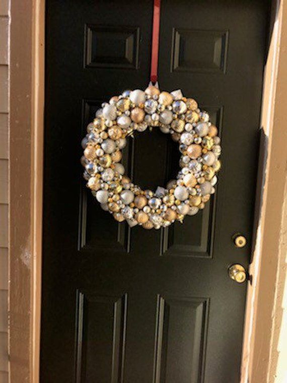 Gorgeous Silver and Gold Ornament Christmas Wreath! Bauble wreath! Holiday Wreath! Super detailed Ornament Wreath, Wedding Wreath #baublewreath