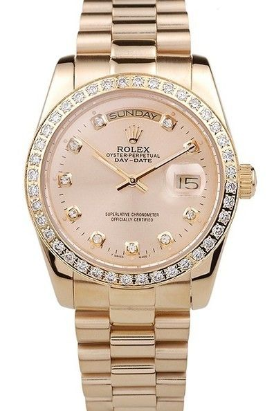 20035c32068 Replica Rolex Oyster Perpetual Day-Date Yellow Gold Plated Stainless Steel  Diamond Studded Bezel Gold Dial with Diamond Hour Markers Watch with Yellow  Gold ...