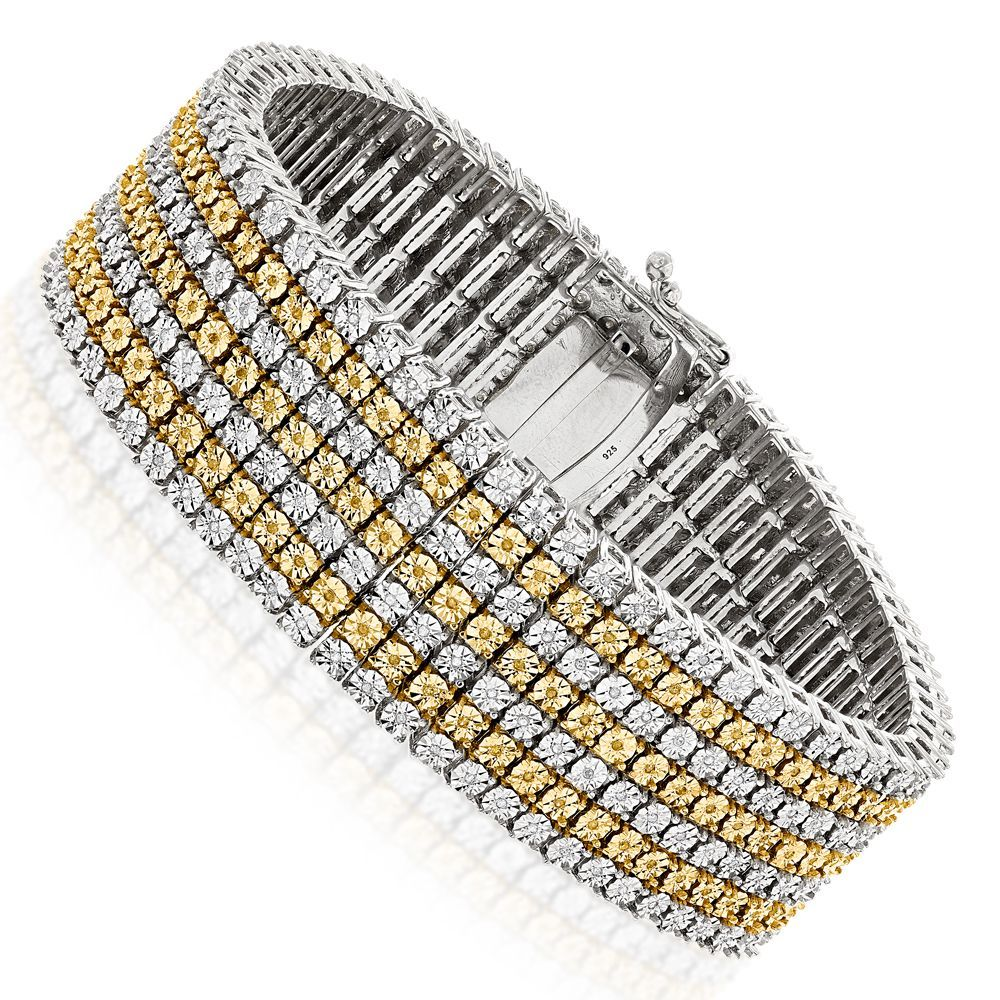 row white and yellow diamond bracelet for men ct sterling