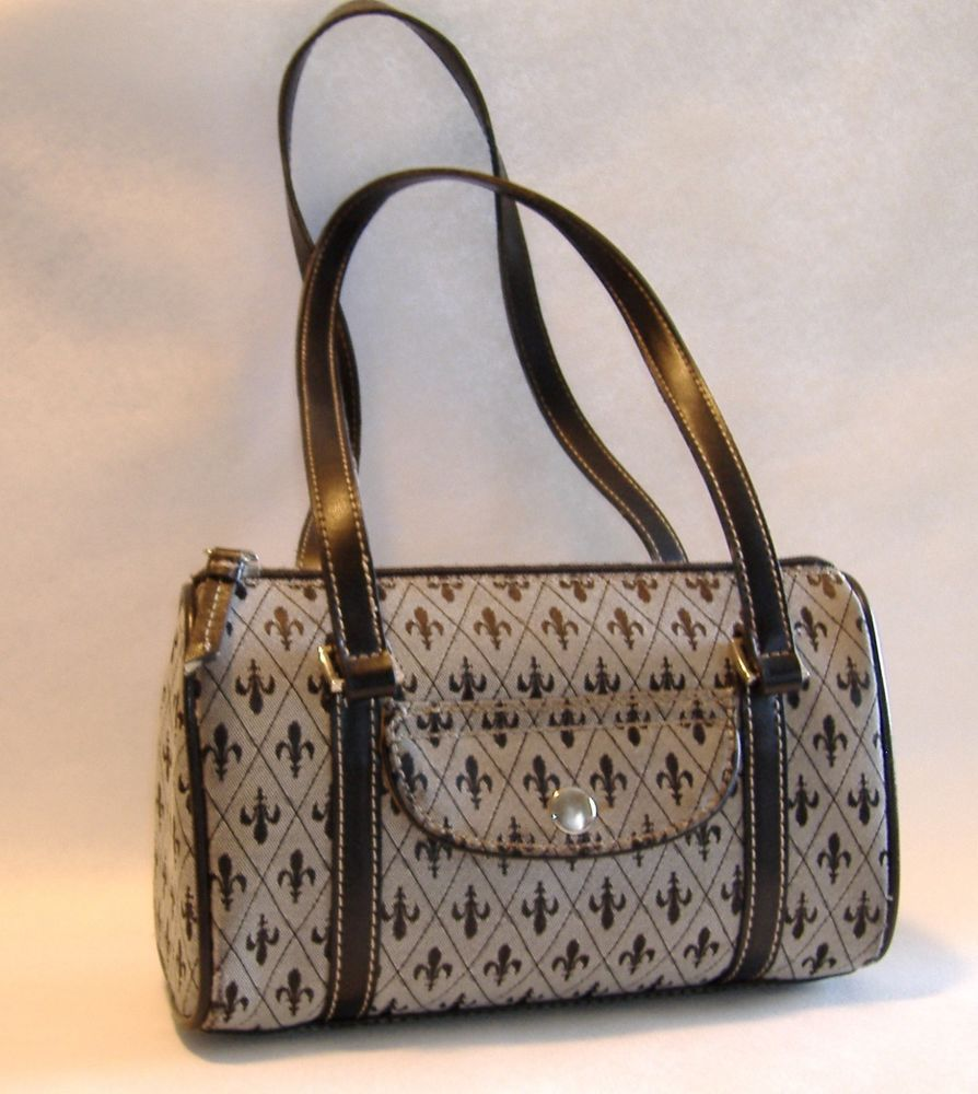Brown Crazy Horse Liz Claiborne Purse Fleur De Lis Fabric Leather Trim Handbag Lizclaiborne Crazyhorse