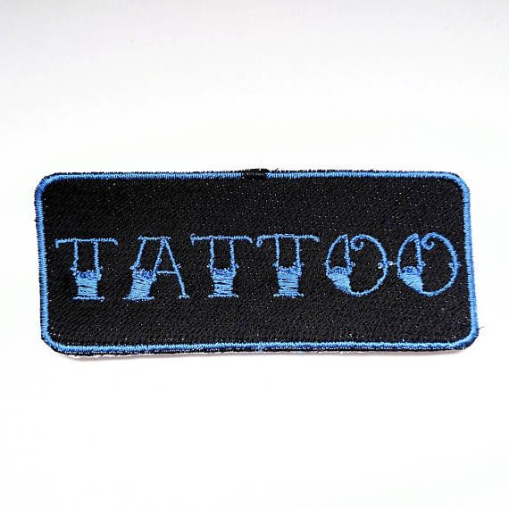 Customisable TATTOO neon sign embroidered iron on patch! Perfect ... : quilt patch tattoo - Adamdwight.com