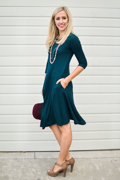 Kara Thermal Midi Dress In Hunter Green - My Sisters Closet