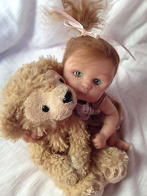 OOAK polymer clay baby girl, 6'' ART DOLL, POSE-ABLE.