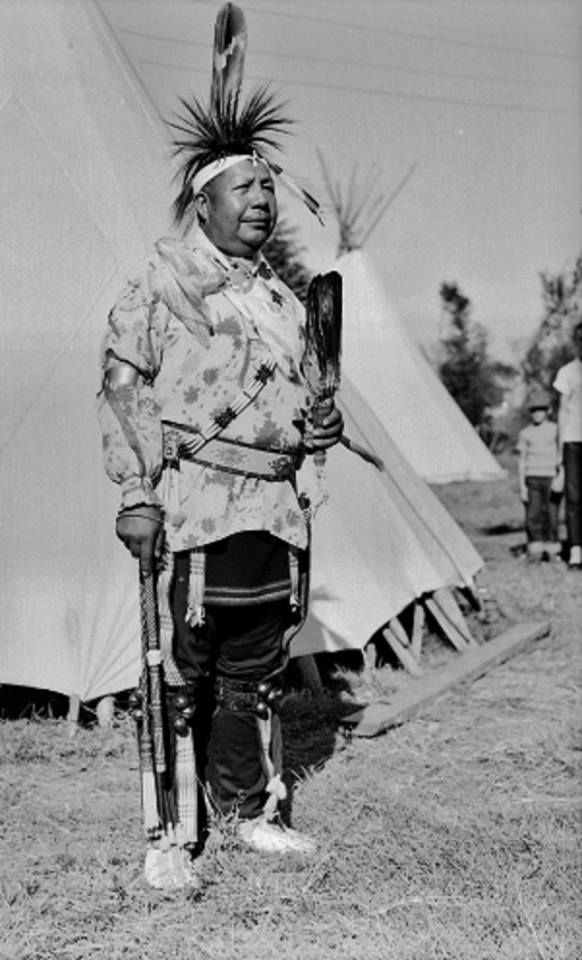 Lawrence Good Fox Sr. in dance clothes at the American Indian Exposition in Anadarko, Oklahoma - Pawnee - 1949