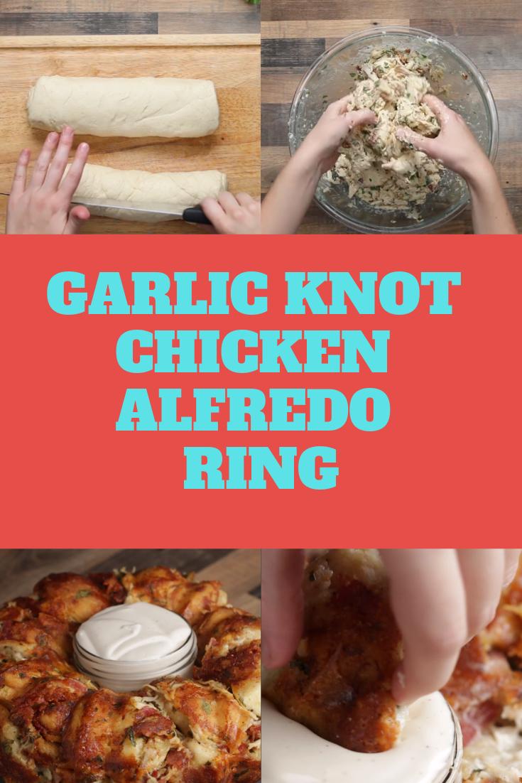 Garlic Knot Chicken Alfredo Ring Chicken Alfredo Chicken Alfredo Recipes Cooked Sushi Recipes