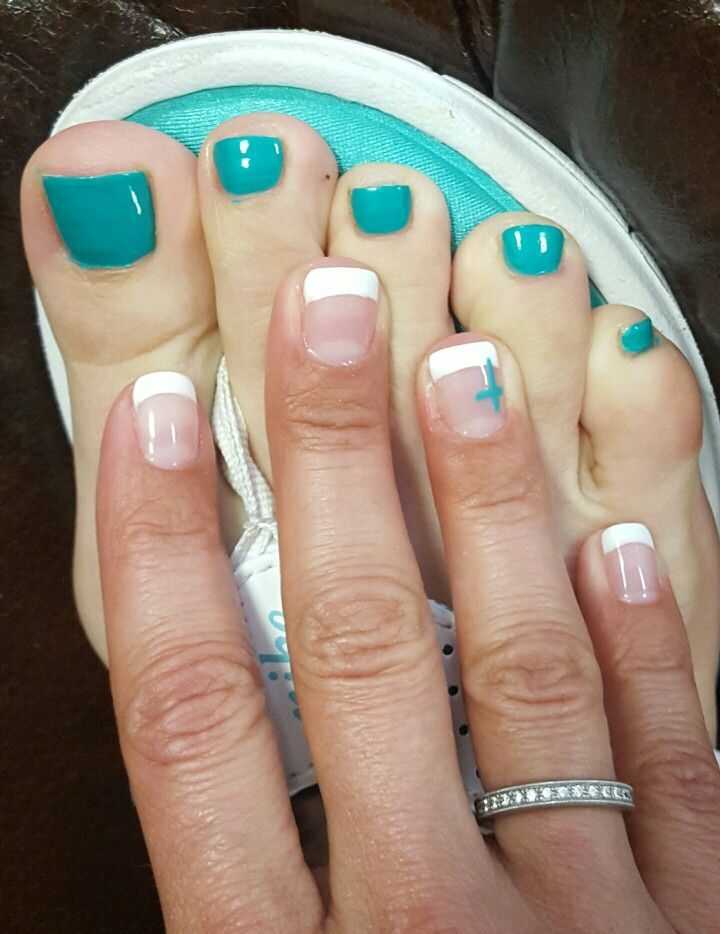 White French tip nails with turquoise cross and turquoise toe nails ...