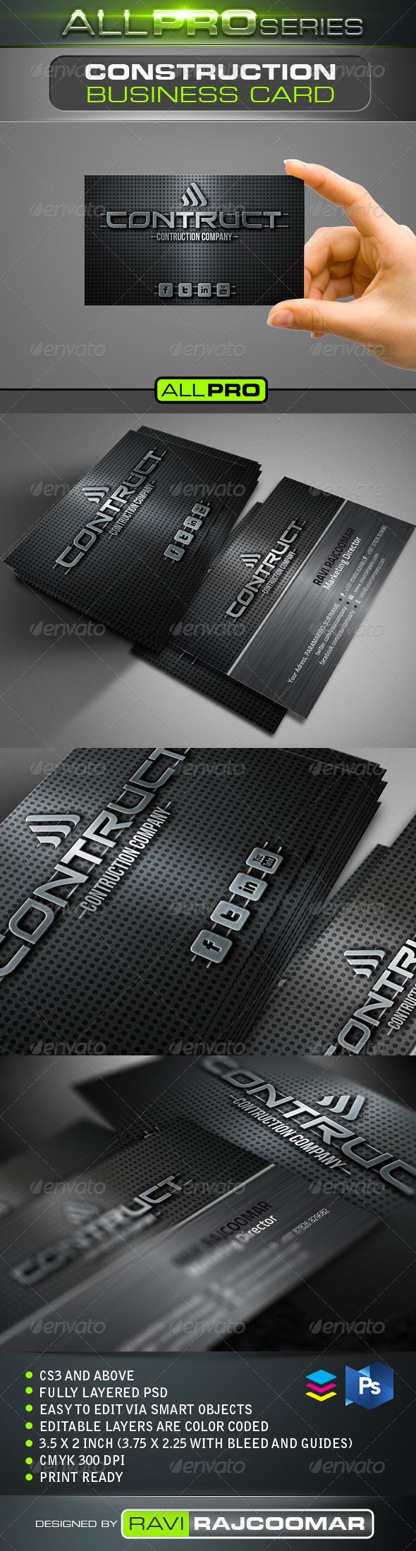 Construction Business Card Construction Business Cards - 2 x 35 business card template