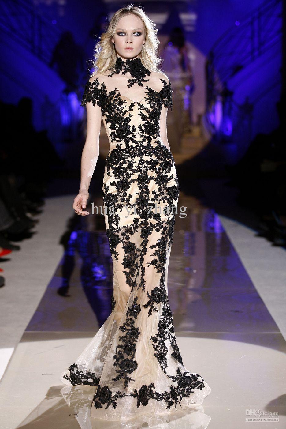 Vintage Black Mermaid Wedding Dress High Collar Short Sleeve