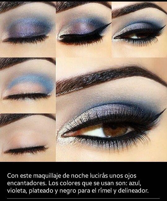 Azul, violeta, plateado y negro