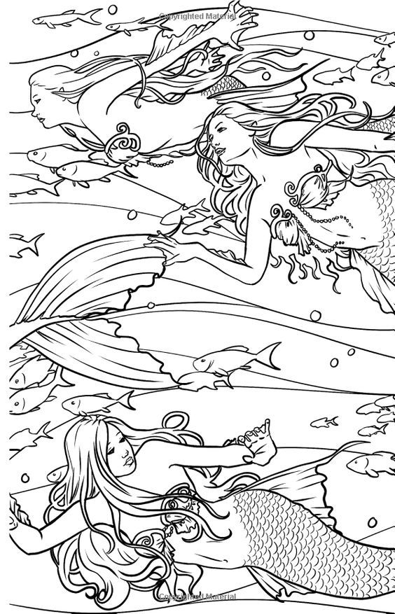 Mermaids Coloring Page Black And White