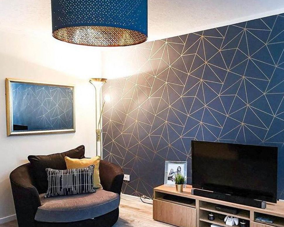 Stunning Wallpaper Decorating Ideas Living Room Blue Wallpaper Living Room Blue And Gold Living Room Gold Living Room