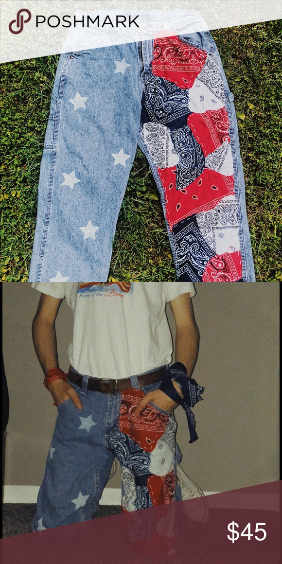 Hand Sewn and Painted Jeans Hand sewn-on bandana patterns as