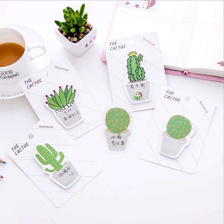 2 piece lytwtws new korean kawaii memo stickers sticky notes message pad cute cactus post it