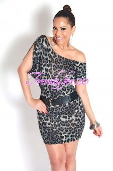 Belted Gray Off The Shoulders Leopard Print Mini Dress
