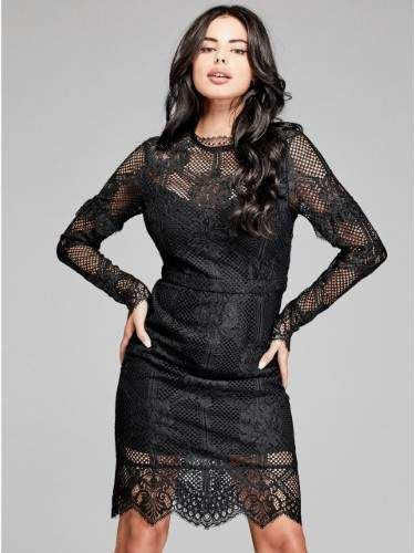 Guess By Marciano Womens Lace Long Sleeve Sheath Dress Products