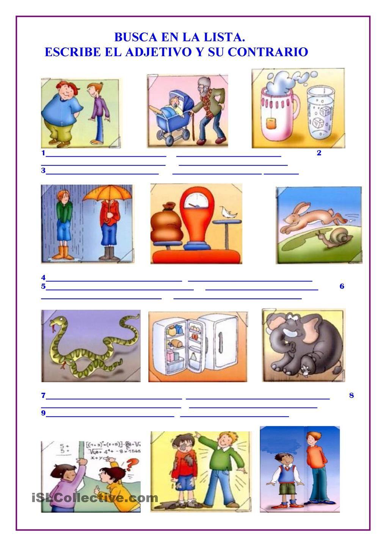 Adjetivos y sus contrarios adjetivos contrarios pinterest adjetivos y sus contrarios malvernweather Images