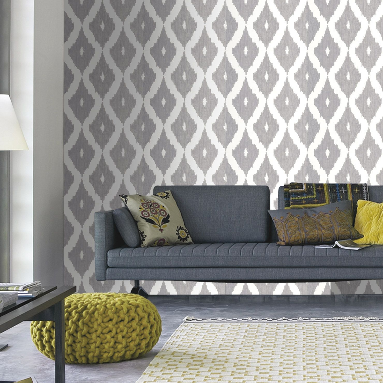 Kelly hoppen ikat wallpaper soft grey u white achica feature