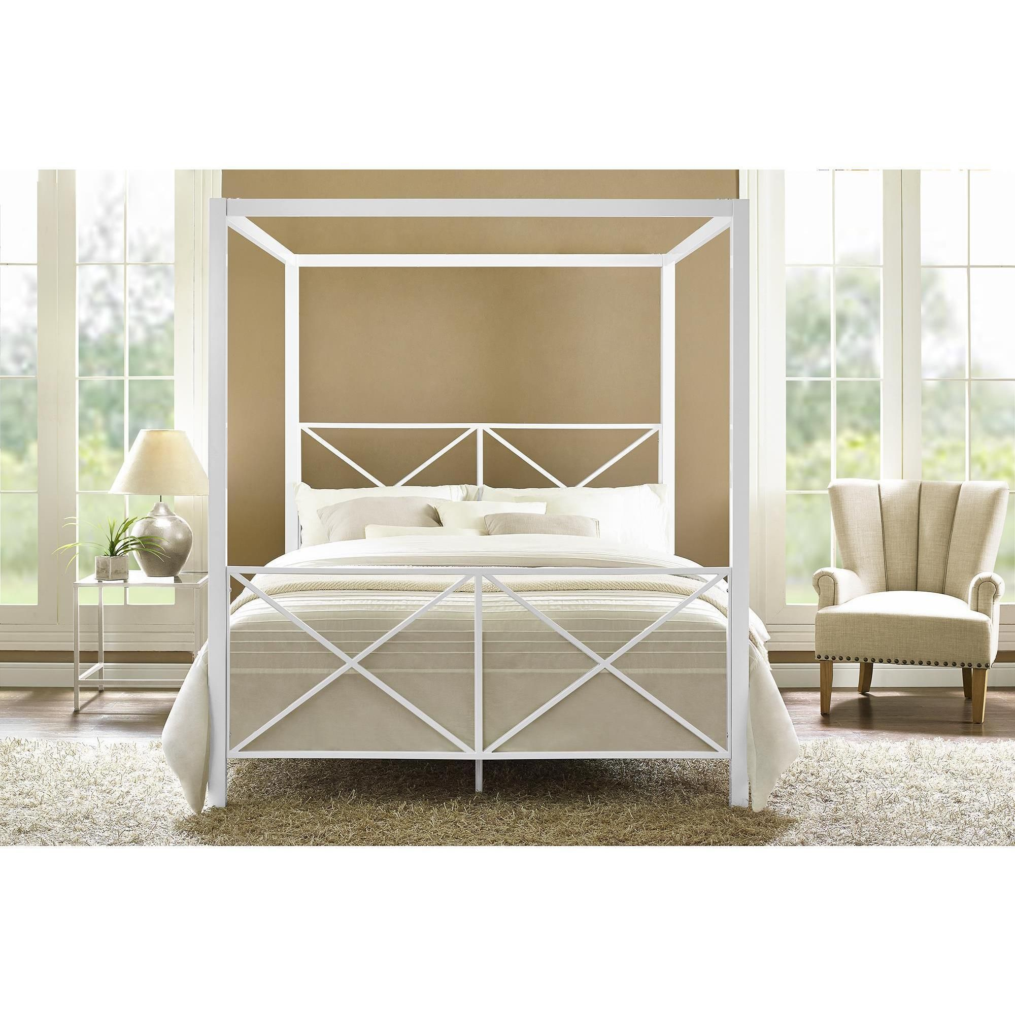 Avenue greene rosemarie white metal canopy bed queen dhp